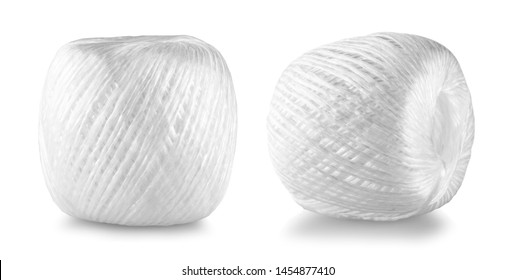 coil of white nylon rope isolated on white background