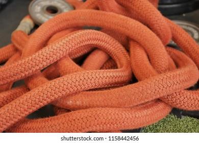 Coiled orange rope.
