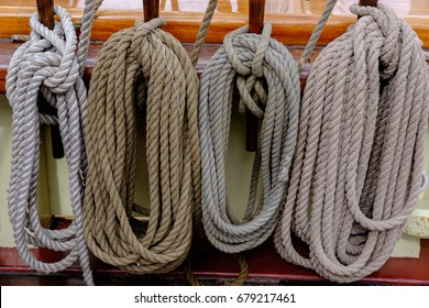 Coiled ropes on the Pride of Baltimore II.