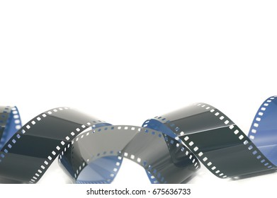 Coiled strip of 35mm photographic film unrolled and exposed forming a lower border over white with copy space