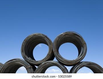 Coils of rebar