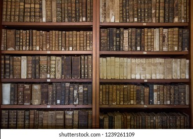 Coimbar, Portugal - 29 July 2017: Bookshelf in the library of Coimbra (Biblioteca Joanina)