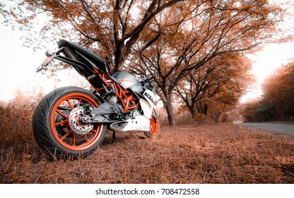 Coimbatore, India August 2017: KTM 250cc bike photo shoot in Coimbatore at Codissia trade centre on August 11th.