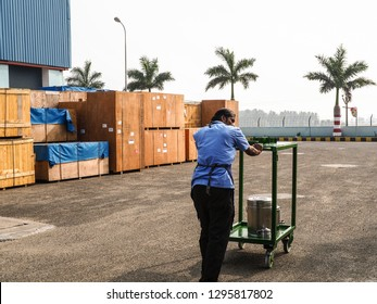 Coimbatore, India - January 19, 2019 : A man is carrying the cart of water in the factory at Coimbatore, India.