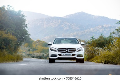 Coimbatore, India July 2017: Mercedes Benz C Class photo shoot at Ooty on July 12th 2017.