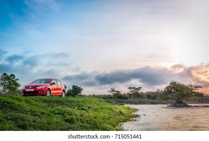 Coimbatore, India July 2017: Volkswagen polo photo shoot at valparai hill station on July 12th