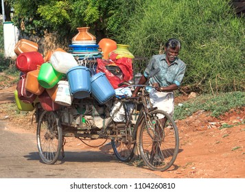 Coimbatore, Tamil Nadu, India, March 26, 2017: Movable Fancy Stores On Bicycle At Rural Areas