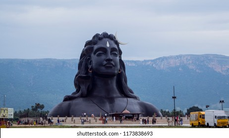 Coimbatore, Tamilnadu, India - 17.10.2017: The adiyogi Shiva Statue, the largest bust sculpture in the world.