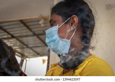Coimbatore, Tamilnadu, INDIA,May 2019. A small girl wearing mask to avoid pollution.