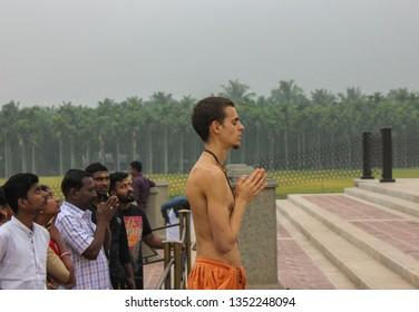 Coimbatore,Tamil Nadu/India-march-20-2019.Adiyogi, the world's largest bust size statue at Isha yoga foundation where a foreigner converted Hindu, praying sincerely to lord shiva.people feeling amazed