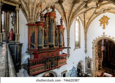 Coimbra, Portugal, August 11, 2017: Baroque pipe organ of the 18th century inside the Monastery of Santa Cruz.