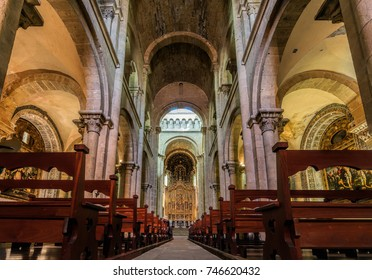 Coimbra, Portugal, August 11, 2017: Interior of the Old Cathedral of Coimbra, a.k.a. Se Velha, a Romanesque Roman Catholic building, started in 12th century.