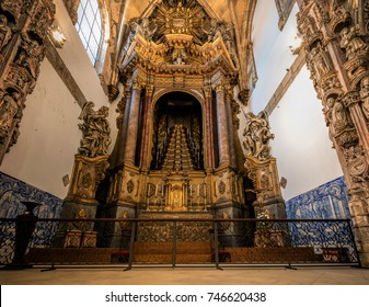 Coimbra, Portugal, August 11, 2017: Santa Cruz Monastery, founded in 1131, contains tombs of the first two kings of Portugal, was the most important during the early days of the Portuguese monarchy.