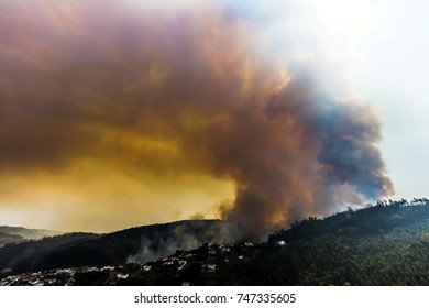 Coimbra, Portugal, August 13, 2017: Massive forest fire near Coimbra