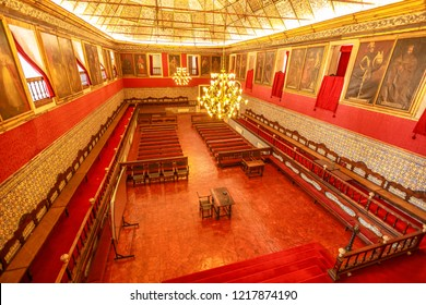 Coimbra, Portugal - August 14, 2017: inside Sala dos Capelos or Great Hall of Acts, the main hall of the University of Coimbra and the place where the most important ceremonies of academic take place.