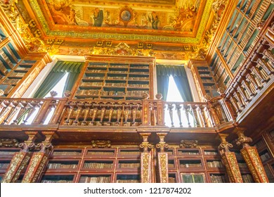 Coimbra, Portugal - August 14, 2017: University baroque library in Coimbra, the Europe's oldest university founded in 1290. Unesco Heritage and most important tourist attraction in Coimbra.Bottom view