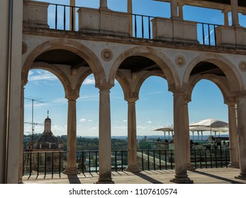 Coimbra, Portugal - August 2016: Arcade, Hallway and Columns in Coimbra's Palace: Architecture in Portugal