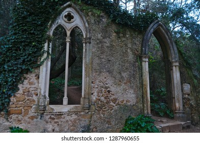 Coimbra, Coimbra / Portugal - December 30 2018: Quinta das Lagrimas Gothic portal and window in Coimbra, Portugal