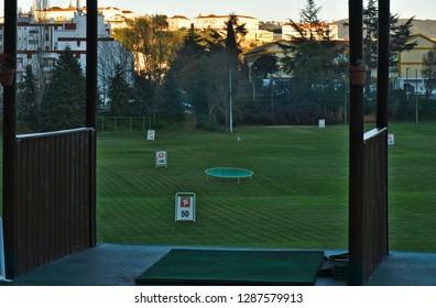 Coimbra, Coimbra / Portugal - December 31 2018: Golf Training Course in Quinta das Lagrimas