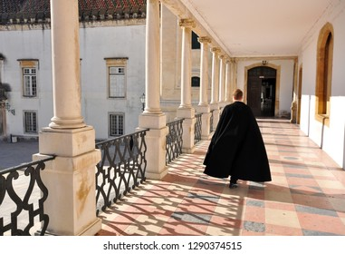 COIMBRA, PORTUGAL - DECEMBER 7: Student going away in Coimbra University, Portugal on December 7, 2012.