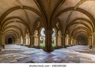 COIMBRA, PORTUGAL - FEBRUARY 28, 2017: Gothic cloister of the Old Cathedral (Se Velha in Portuguese) in Coimbra, Portugal