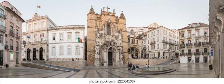 COIMBRA, PORTUGAL - JULY 13, 2015: Praça 8 de Maio, Coimbra, Portugal, with the Coimbra City Hall and the Santa Cruz Monastery