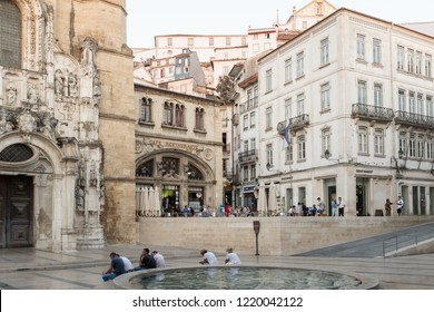 COIMBRA, PORTUGAL - JULY 13, 2015: Café Santa Cruz at Praça 8 de Maio, Coimbra, Portugal. Café Santa Cruz is one of the most historic and prominent cafes in Coimbra