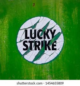 Coimbra/ Portugal - June 10 2019: Lucky Strike sticker sign.
