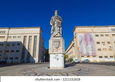 COIMBRA, PORTUGAL - JUNE 12, 2017: Statue of King Denis in Coimbra University, Coimbra, Portugal in a beautiful summer day