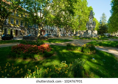 COIMBRA, PORTUGAL - May 19, 2016: General view of Avenida Sa da Bandeira in the historic university city of Coimbra, Portugal, showing a common architectural style of the city.
