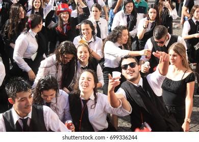COIMBRA, PORTUGAL - MAY 7, 2017: Participants during a Traditional Celebration of Portuguese universities, Queima das Fitas Coimbra