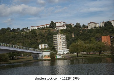 Coimbra, Portugal - October 10, 2018: View of Coimbra architecture from Santa Clara Bridge in downtown of Coimbra