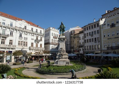 Coimbra, Portugal - October 10, 2018: Colorful Architecture  of Coimbra in a sunny October