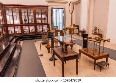 COIMBRA, PORTUGAL - OCTOBER 13, 2017: Interior of the Science Museum of the University of Coimbra (Museu da Ciencia da Universidade de Coimbra), Portugal.