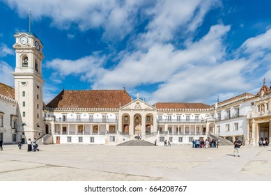COIMBRA, PORTUGAL- OCTOBER 15TH 2016: University Tower of University of Coimbra. tanding 34 meters high, from the Tower of the Universidade de Coimbra you can enjoy a beautiful city view.