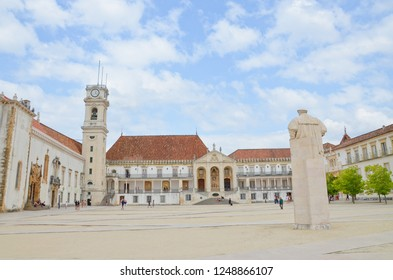 Coimbra, Portugal - Sep 4th 2018: Amazing courtyard of Coimbra University with dominant building of Bell Tower, which was part of former royal palace complex. It is the oldest university in Portugal.