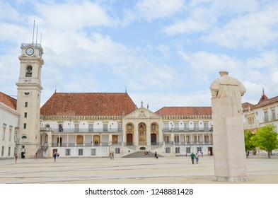 Coimbra, Portugal - Sep 4th 2018: Beautiful square at famous University of Coimbra. One of the oldest universities in the world is since 2013 part of UNESCO World Heritage List.