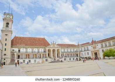 Coimbra, Portugal - Sep 4th 2018: Outstanding courtyard of the University in Coimbra. The Buildings were part of former royal palace. The dominant of the beautiful campus is the Bell Tower.