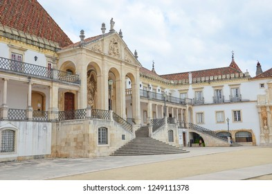 Coimbra, Portugal - Sep 4th 2018: Beautiful buildings of the campus of Coimbra University. Founded in 13th century it is the oldest university in the country. Since 2013 on UNESCO World Heritage List.