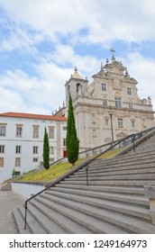 Coimbra, Portugal - Sep 4th 2018: Beautiful New Cathedral of Coimbra. Originally the church of the Jesuit Formation, established in 16th century with amazing Baroque decoration from 18th century.