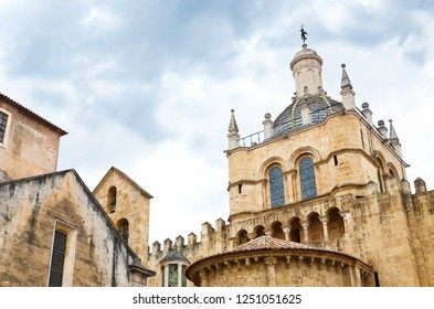 Coimbra, Portugal - Sep 4th 2018: Detail of beautiful Old Cathedral of Coimbra. The Romanesque Roman Catholic building from 12th century is a major tourist sight of this portuguese historical city.