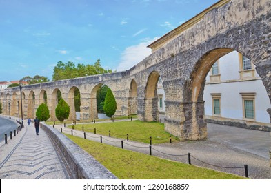 Coimbra, Portugal - Sep 4th 2018: View of the garden arches close to the Botanical Garden of Coimbra, also known as the San Sebastian Aqueduct. Built in 16th century on what was once a Roman aqueduct.