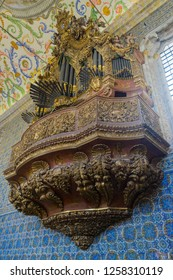 Coimbra, Portugal - September 14, 2018: São Miguel Chapel, Coimbra University. The chapel has majestic pipe organ by Friar Manuel of St. Benedict, with over 2000 tubes, is still in use today. - Image