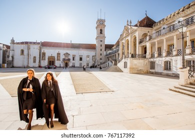 COIMBRA, PORTUGAL - September 26, 2017: View on the courtyard of the oldest university with students in black uniform in Coimbra city in the central Portugal