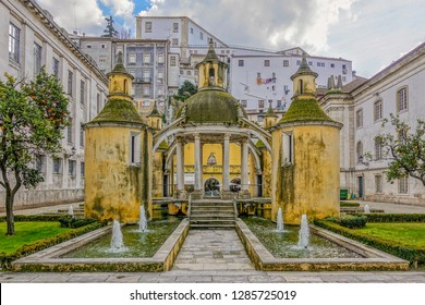 Coimbra, Portugal, winter 2018. Jardim da Manga (Manga Garden) - Attraction in Coimbra, Portugal. Santa Cruz Monastery in Coimbra. Beira Litoral, Portugal.
