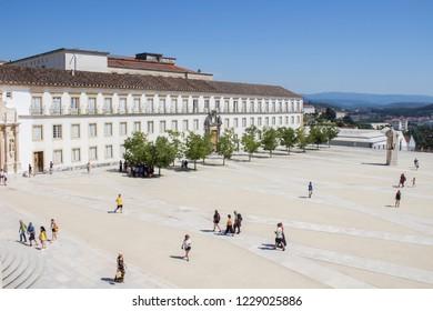 Coimbra/Portugal - 08/15/2018: Royal palace (paço real) at University of Coimbra, Portugal