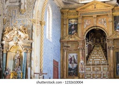 Coimbra/Portugal - 08/15/2018: Sao Miguel Chapel at University of Coimbra, Portugal