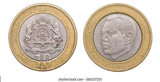 Coin 10 dirham. Profile of King Hassan II. Morocco. year 2002