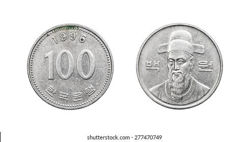 Coin 100 won KRW. South Korea