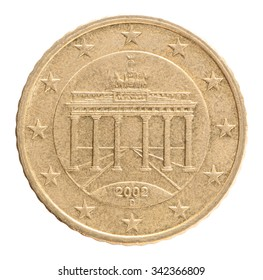 Coin 50 cents with the image of an architectural monument the Brandenburg Gate